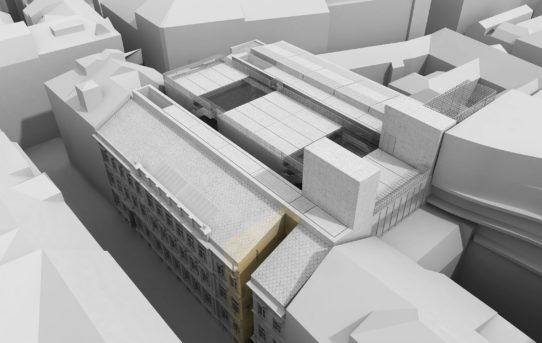 Vysoká škola uměleckoprůmyslová v Praze - návrh doplňkového objektu