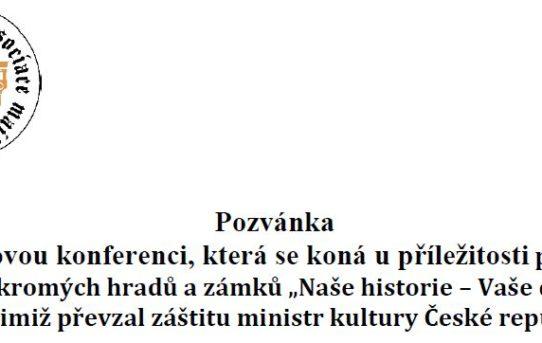 """(Čeština) Pozvánka na tiskovou konferenci """"Naše historie – Vaše dědictví"""""""