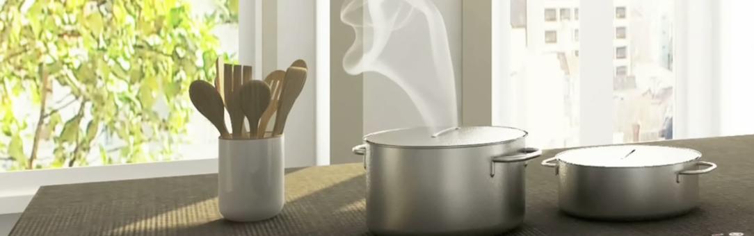 Kuchyňská deska vyrobená zkeramické dlažby sintegrovanou indukcí