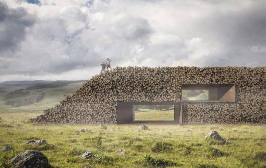 Konceptuální zeď z kmenů od Christophe Benichou