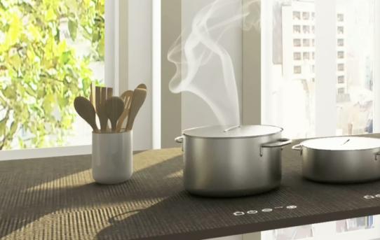 (Čeština) Kuchyňská deska vyrobená zkeramické dlažby sintegrovanou indukcí